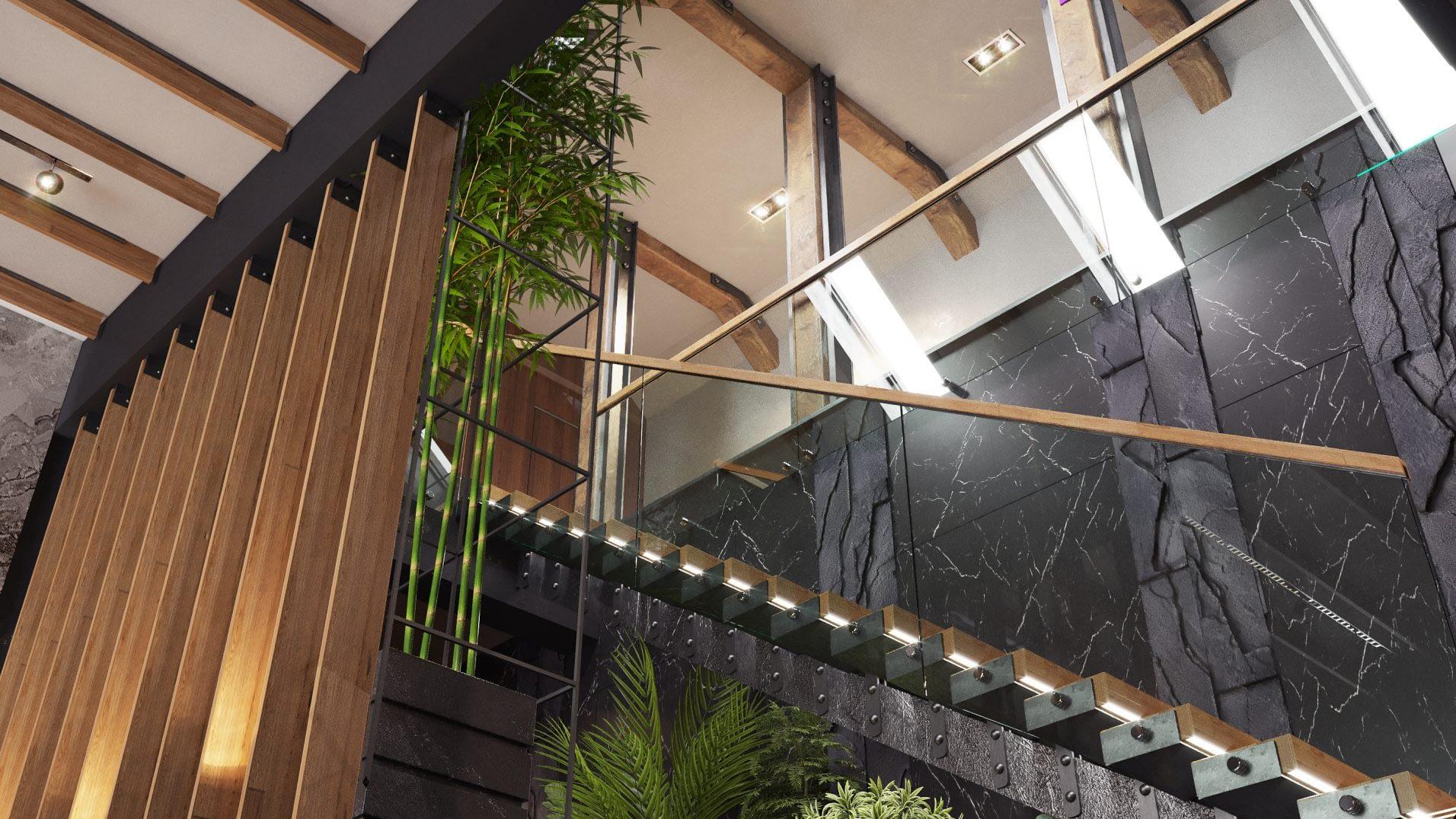 дизайн проект лестницы в частном доме в Киеве