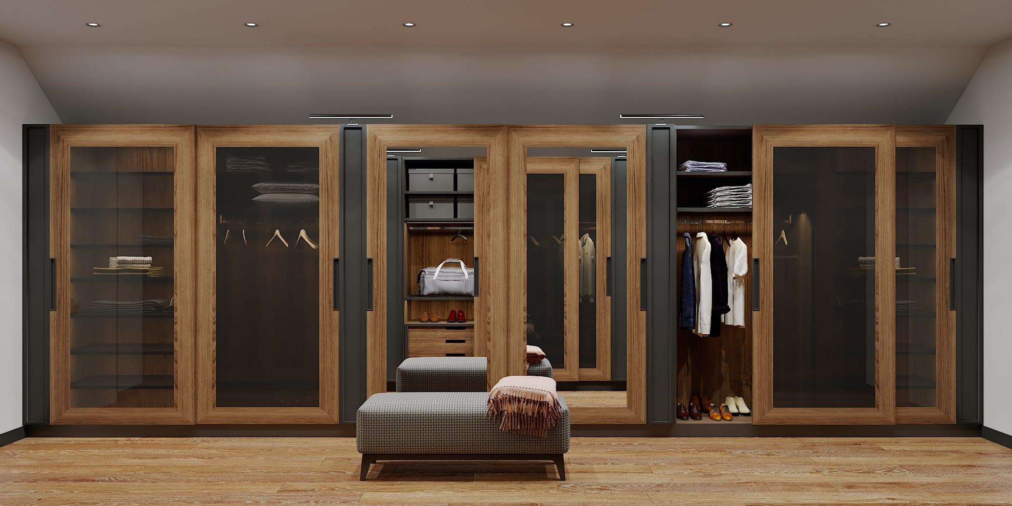 дизайн проект гардеробной в частном доме в Киеве