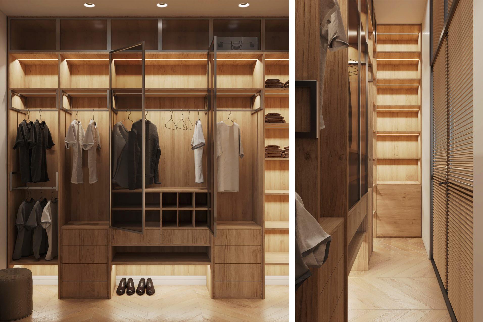 дизайн интерьера гардероба квартиры в ЖК Риверстоун