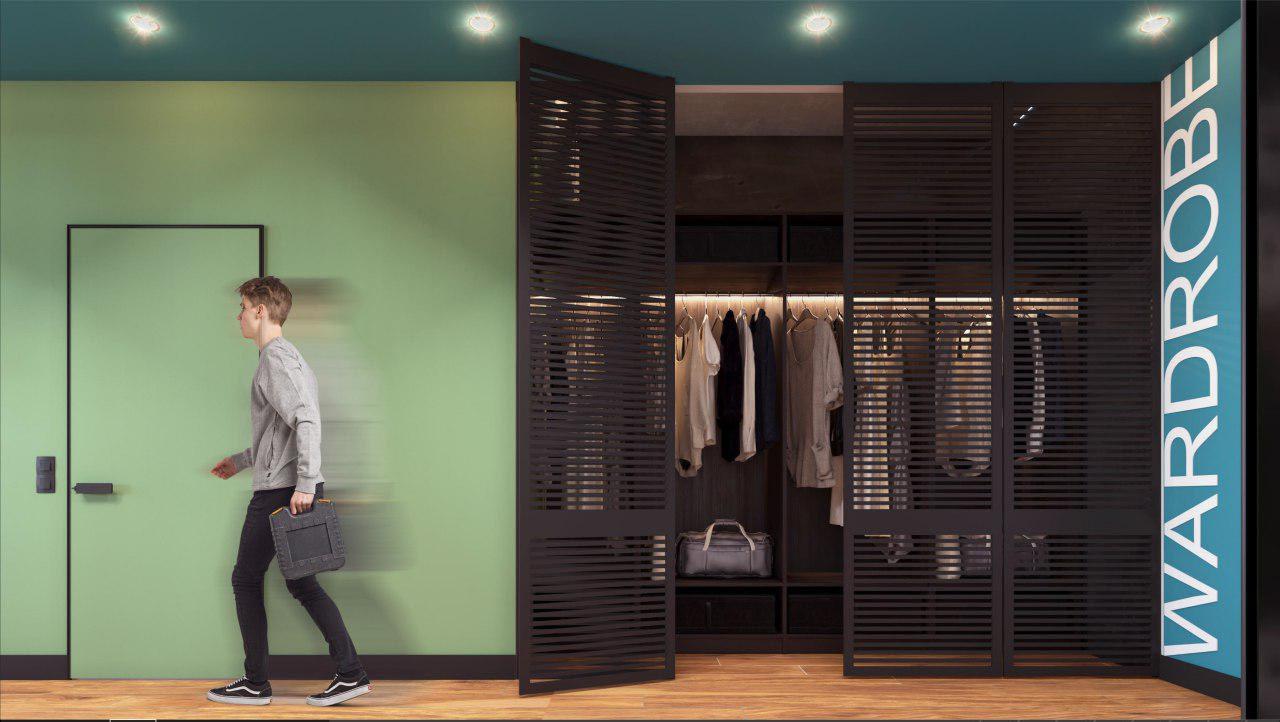 дизайн проект интерьера гардероба IT-компании Whaleapp от Lavrov Design