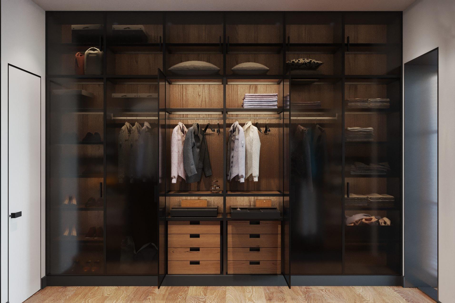 дизайн проект гардеробной комнаты в частном доме в Киеве