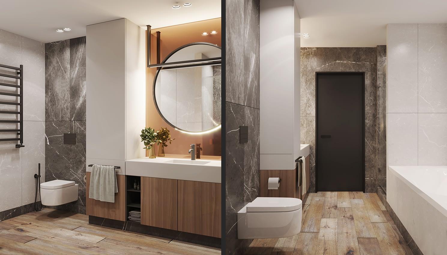 проект ванной комнаты квартиры в ЖК Славутич