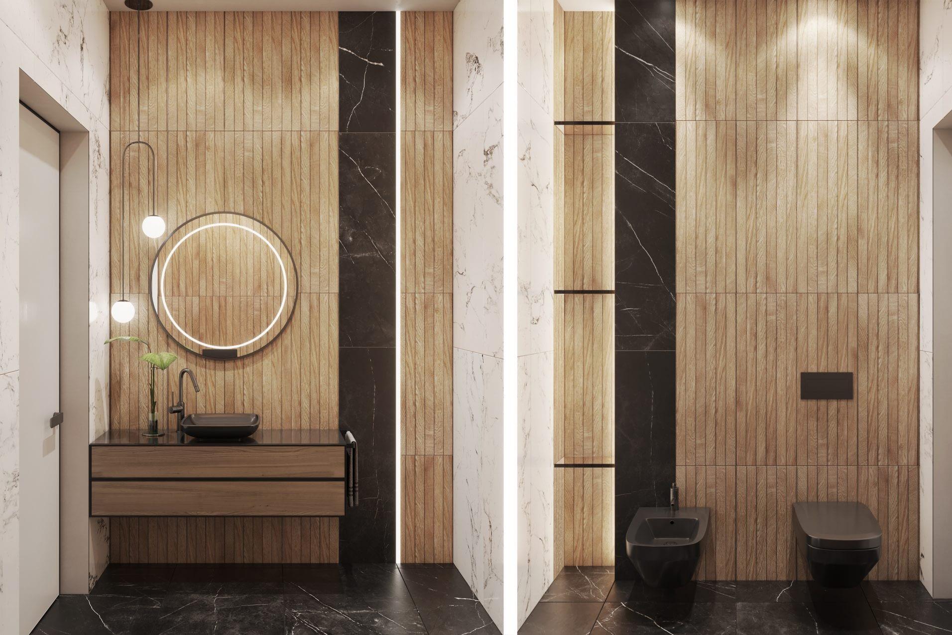 дизайн проект ванной комнаты в частном доме в Киеве