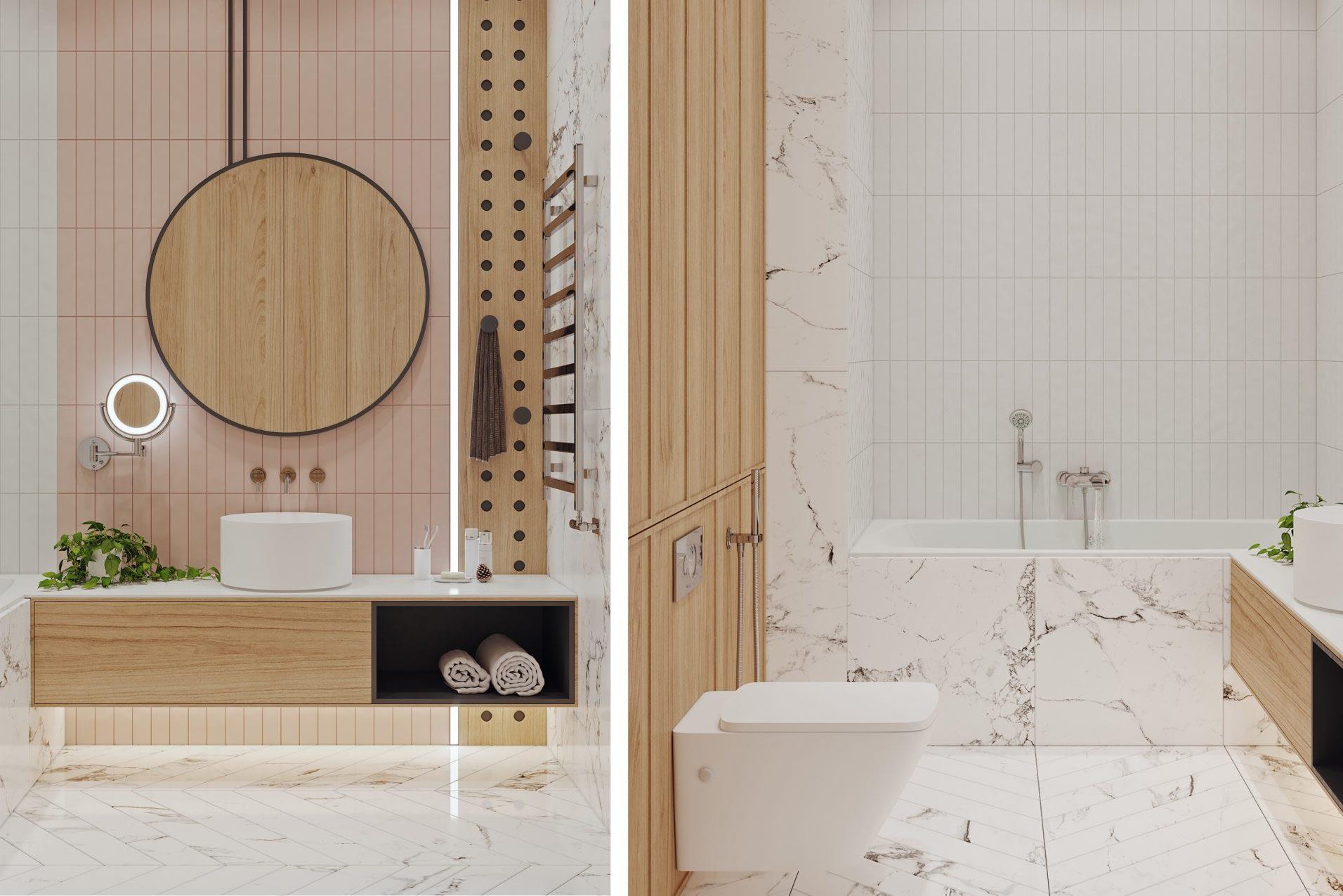 дизайн интерьера ванной в квартире в ЖК Риверстоун