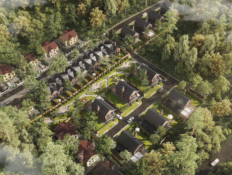 проект коттеджа в коттеджном городке OAK GROVE TOWN вид сверху