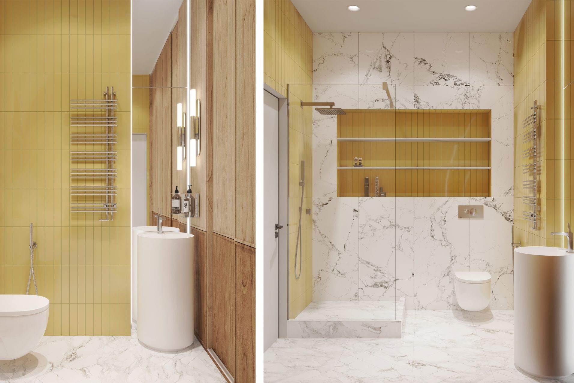 дизайн проект интерьера ванной в квартире в ЖК Риверстоун