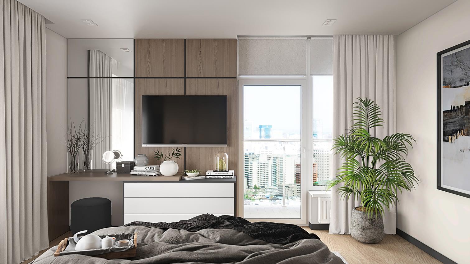 проект спальной комнаты в квартире в ЖК Владимирский