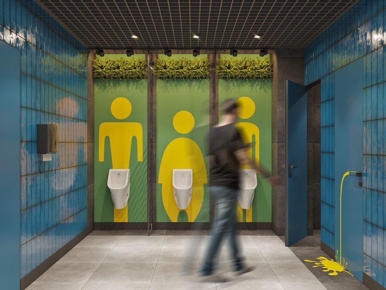 проект мужского туалета офиса IT-компании Whaleapp