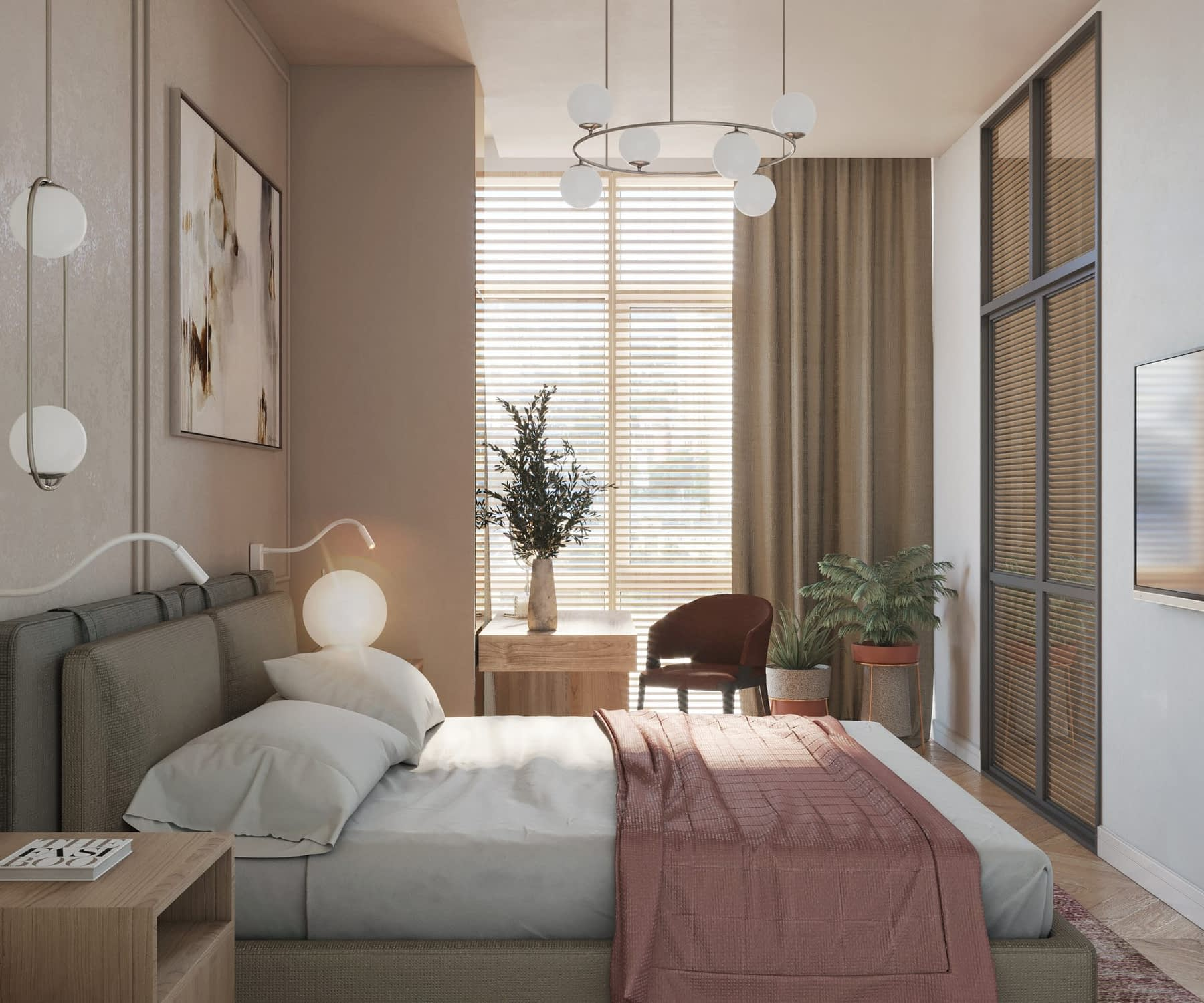 дизайн интерьера спальни квартиры в ЖК Риверстоун