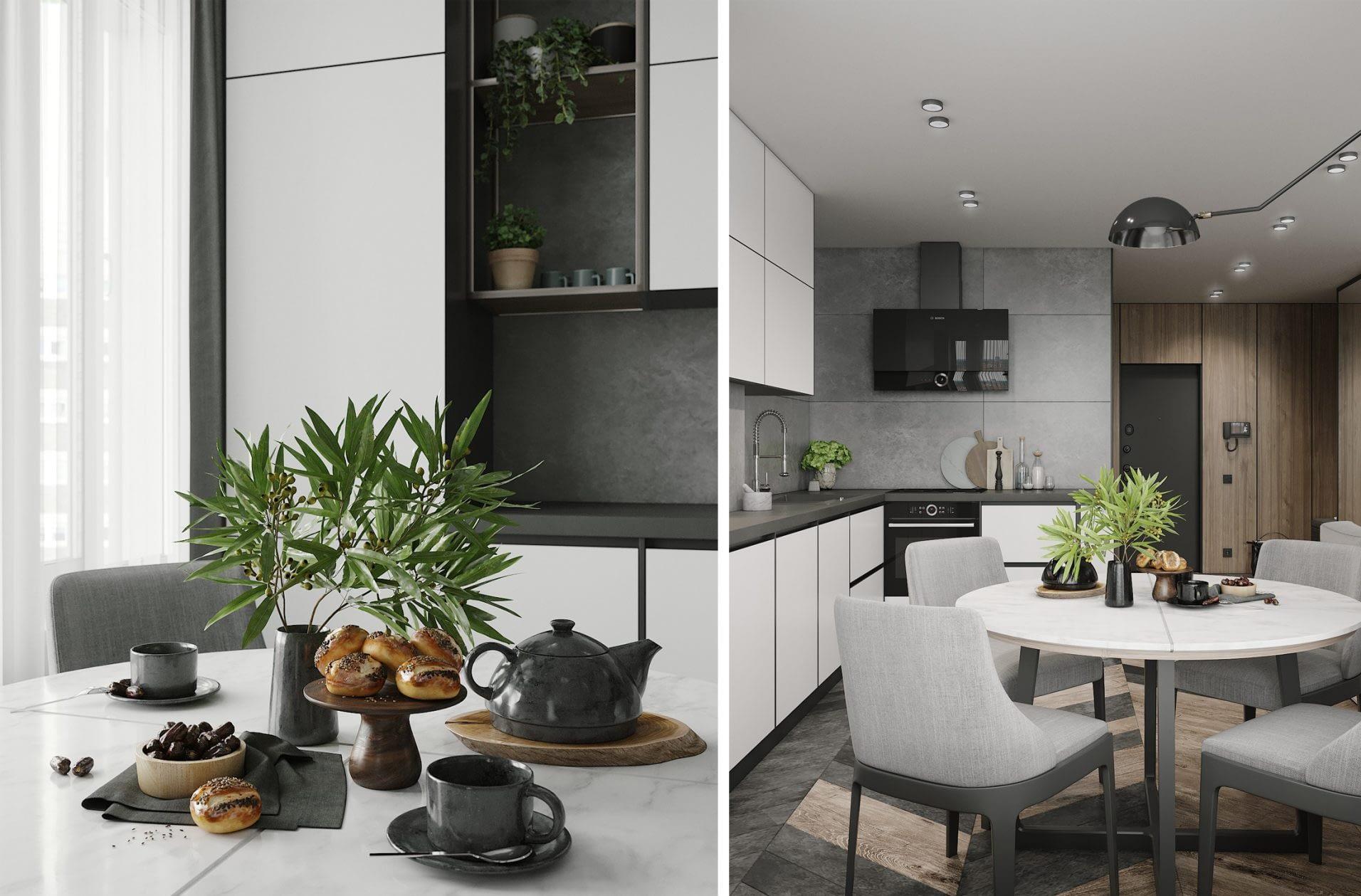дизайн проект интерьера кухни квартиры в ЖК Парк Лэнд от Lavrov Design