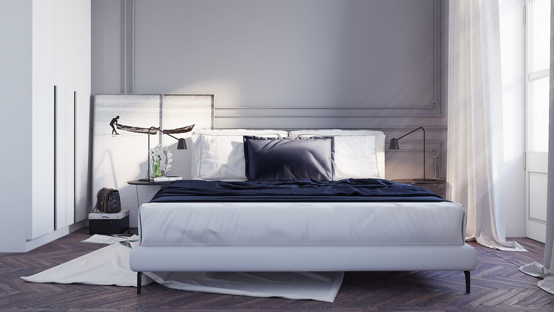 дизайн проект спальни квартиры в стиле неоклассика