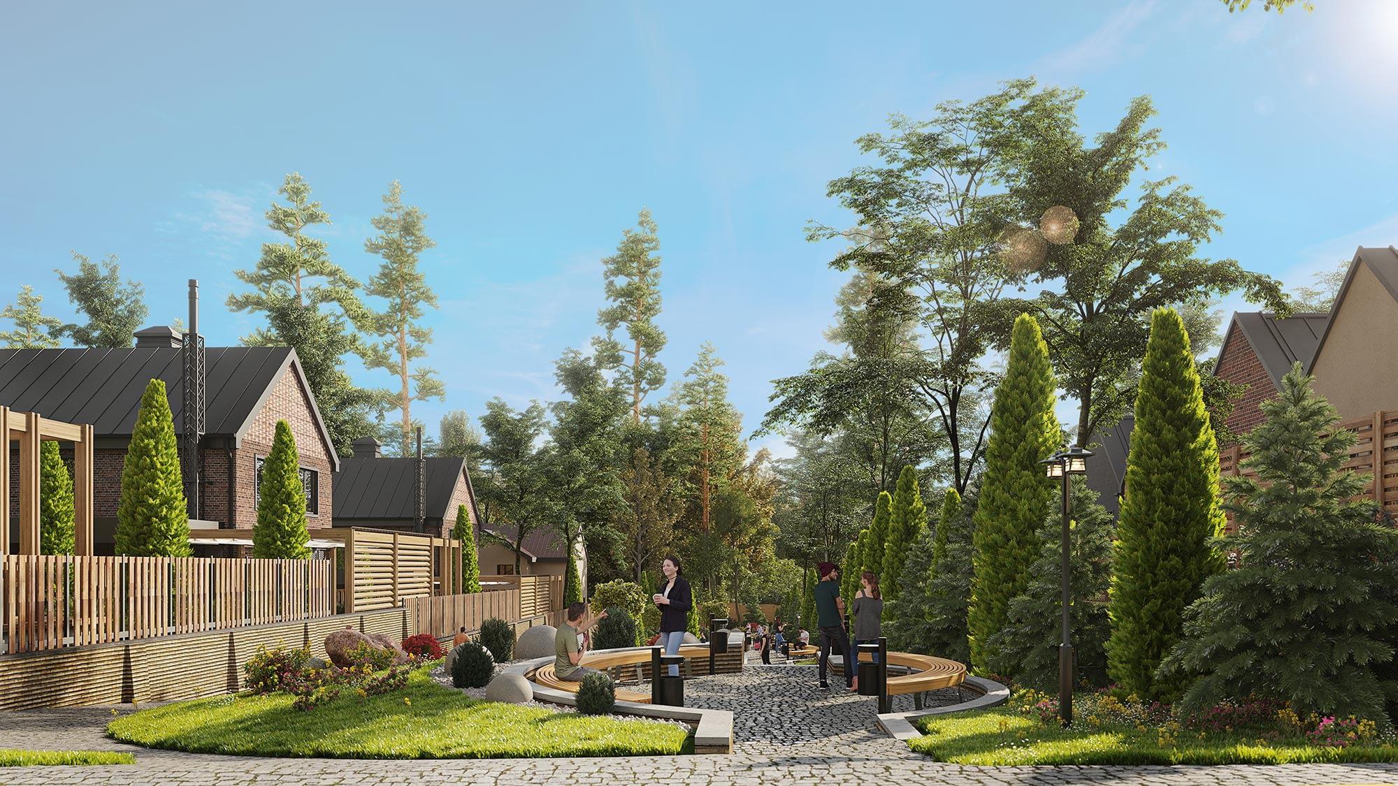 проект прилегающей территории в коттеджном городке OAK GROVE TOWN вид сверху