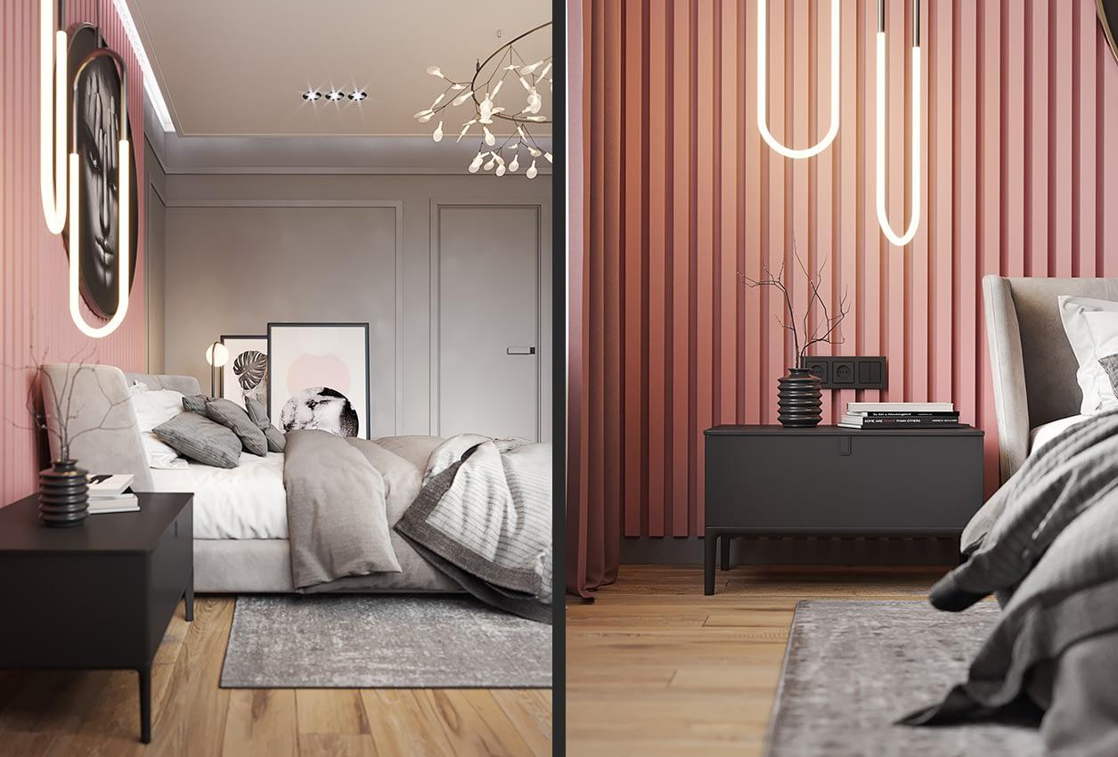 проект интерьера спальни коттеджа в коттеджном городке OAK GROVE TOWN