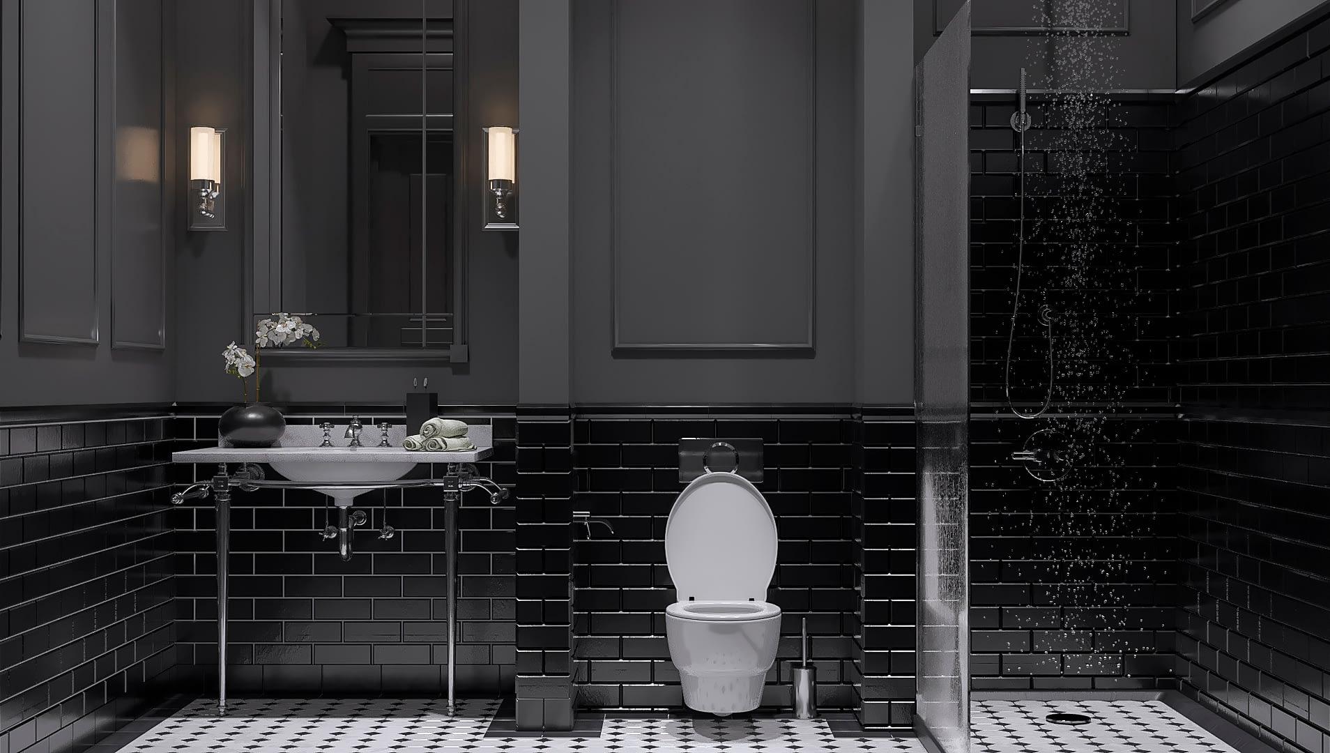 дизайн проект ванной комнаты квартиры в стиле неоклассика