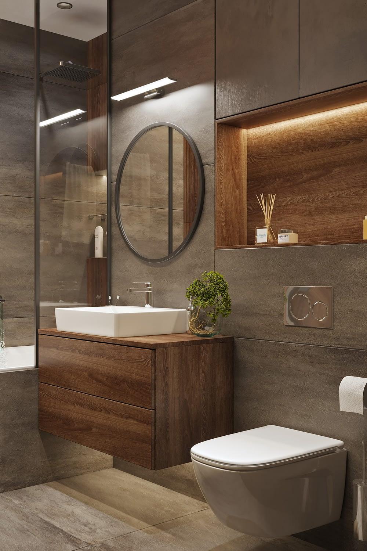 дизайн проект ванной комнаты в квартире ЖК Хоум