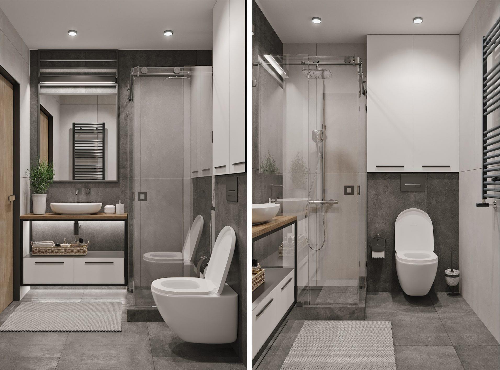 дизайн проект интерьера ванной комнаты квартиры в ЖК Парк Лэнд от Lavrov Design