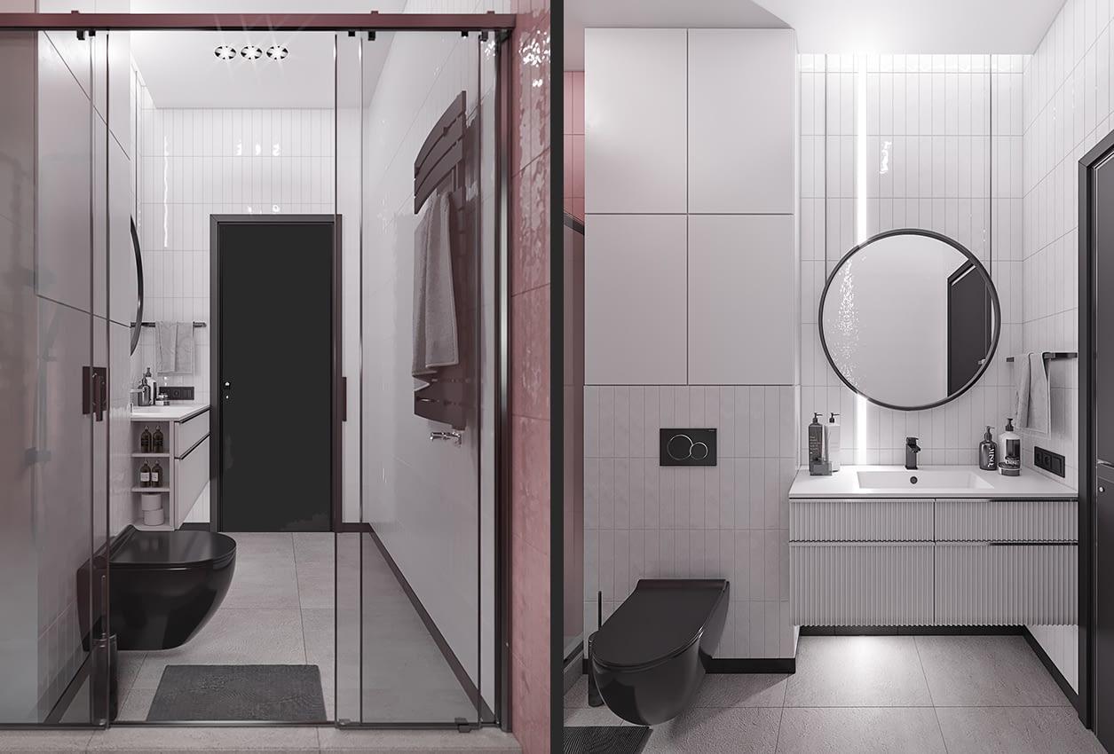 проект интерьера ванной коттеджа в коттеджном городке OAK GROVE TOWN