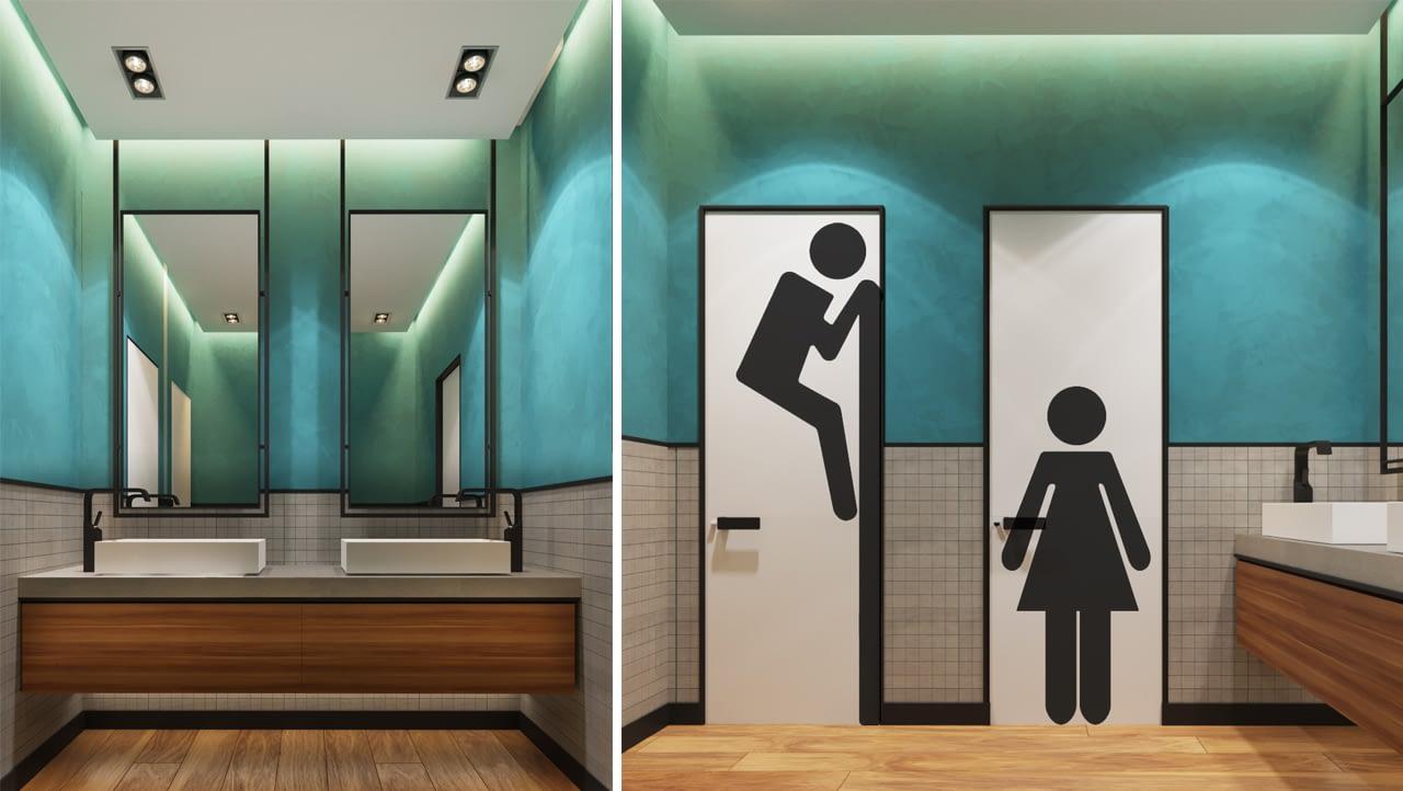 дизайн проект интерьера санузла офиса IT-компании Whaleapp от Lavrov Design