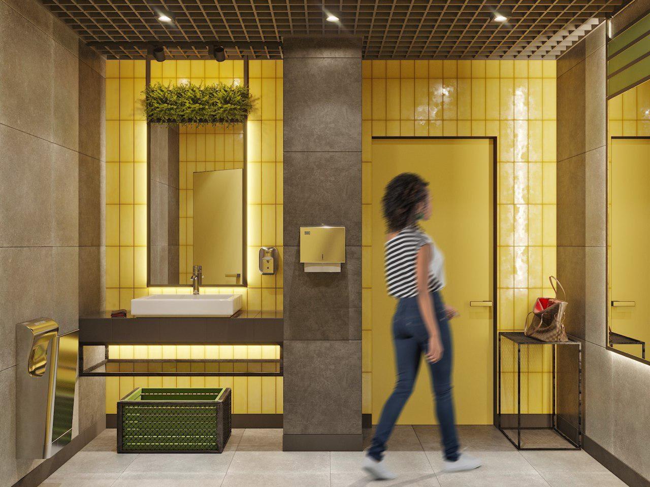 проект женского туалета офиса IT-компании Whaleapp