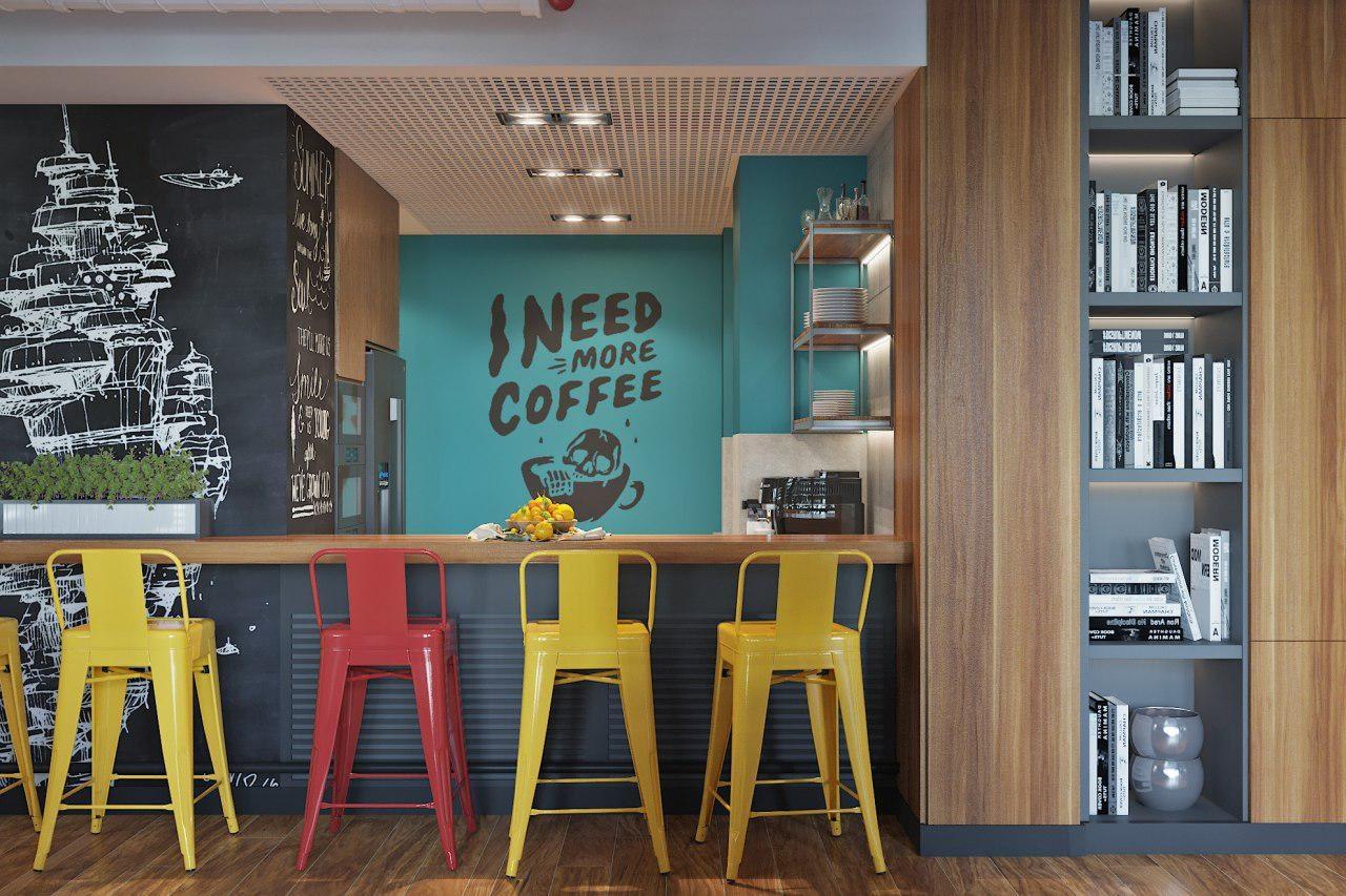 дизайн проект интерьера кухни IT-компании Whaleapp от Lavrov Design
