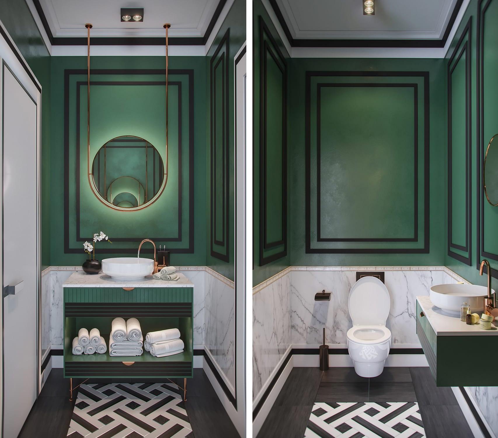 дизайн проект интерьера санузла салона красоты от Lavrov Design