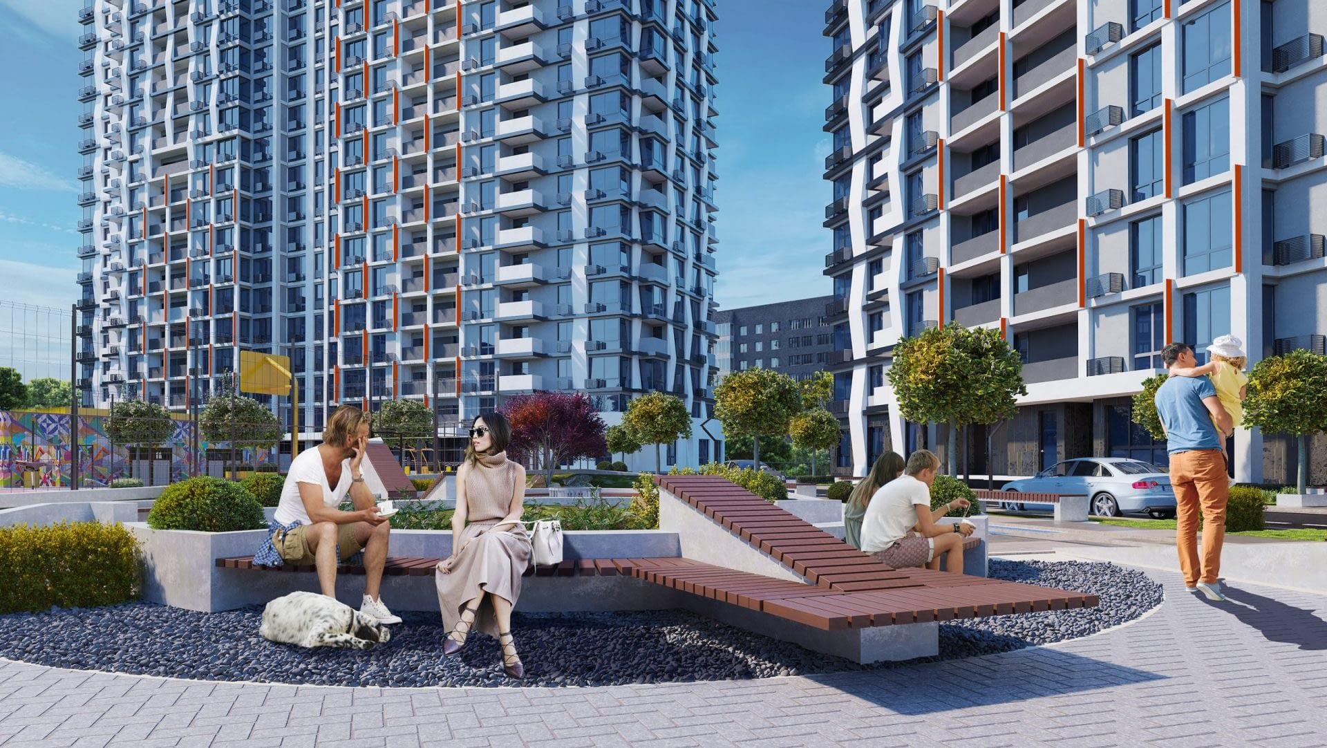 проект Жилищного Комплекса Сити Хаб внутренний двор