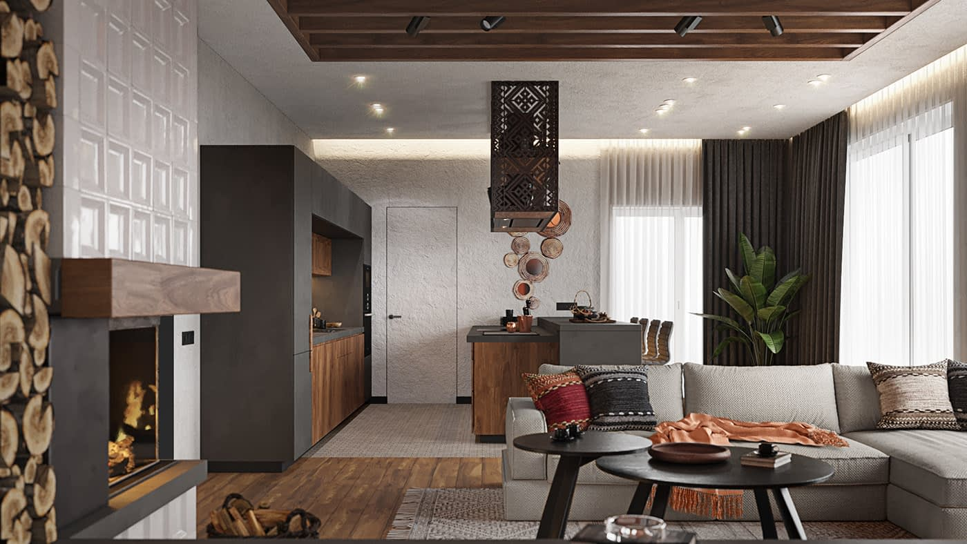 проект интерьера кухни квартиры в ЖК Терракота