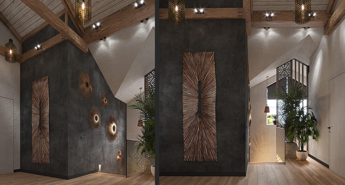 проект интерьера холла 2го этажа квартиры в ЖК Терракота