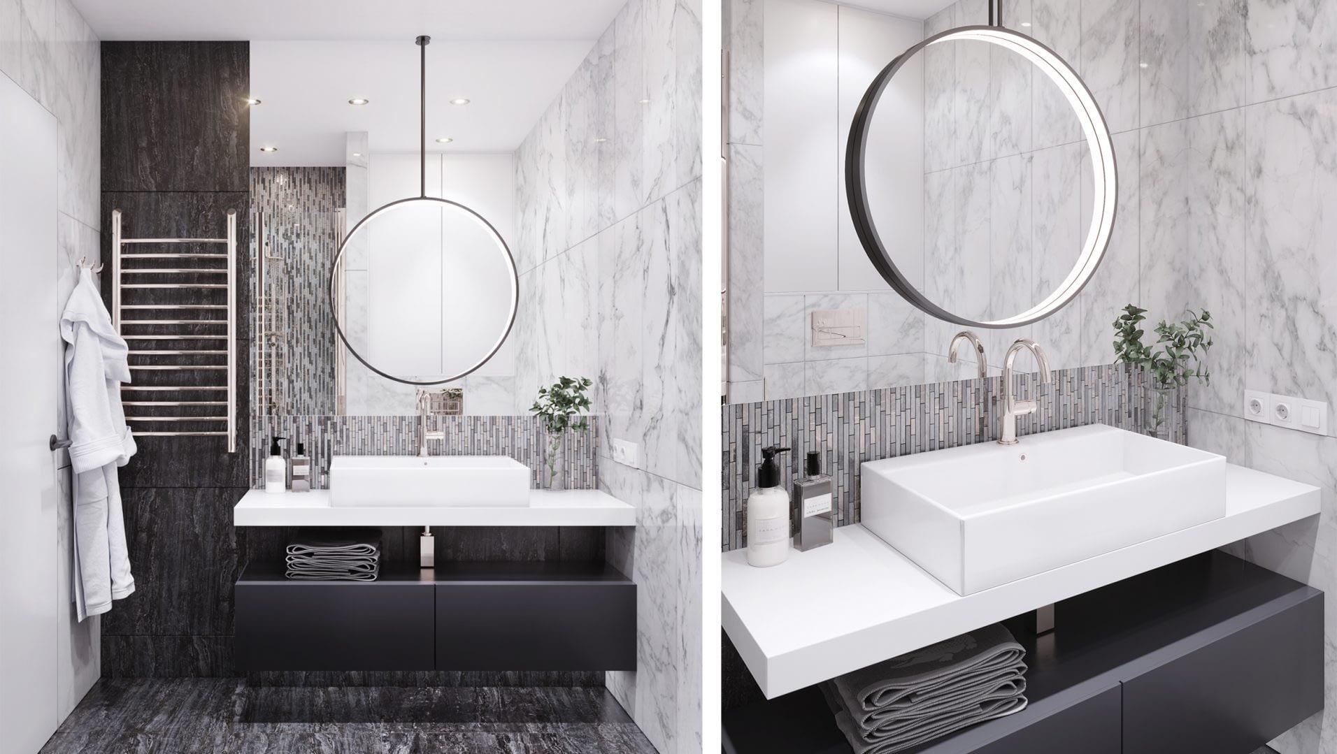 дизайн проект ванной комнаты квартиры в ЖК Французский квартал от Lavrov Design