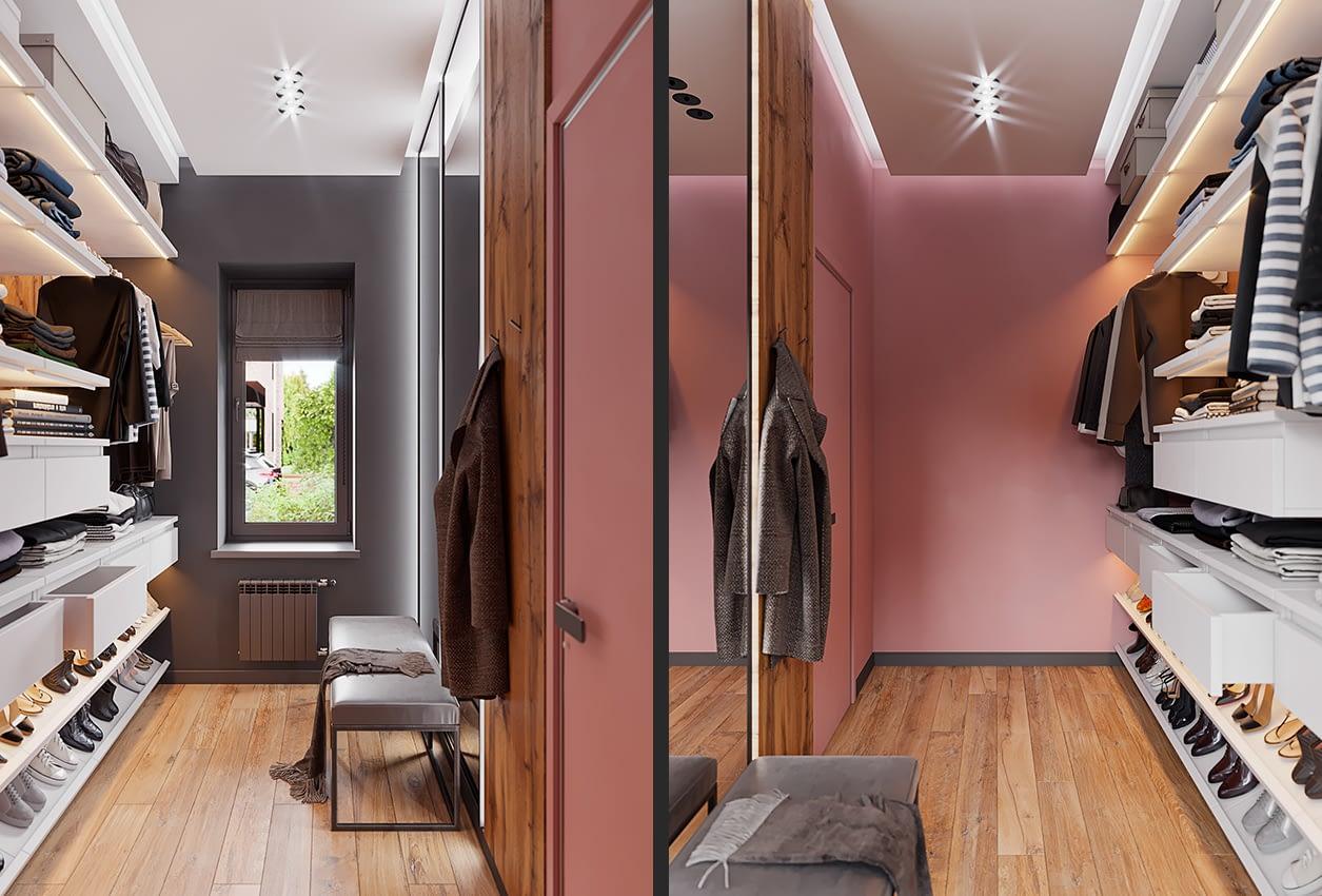 проект интерьера гардеробной коттеджа в коттеджном городке OAK GROVE TOWN