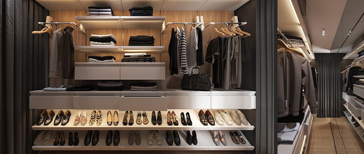 проект гардеробной в квартире в ЖК Владимирский