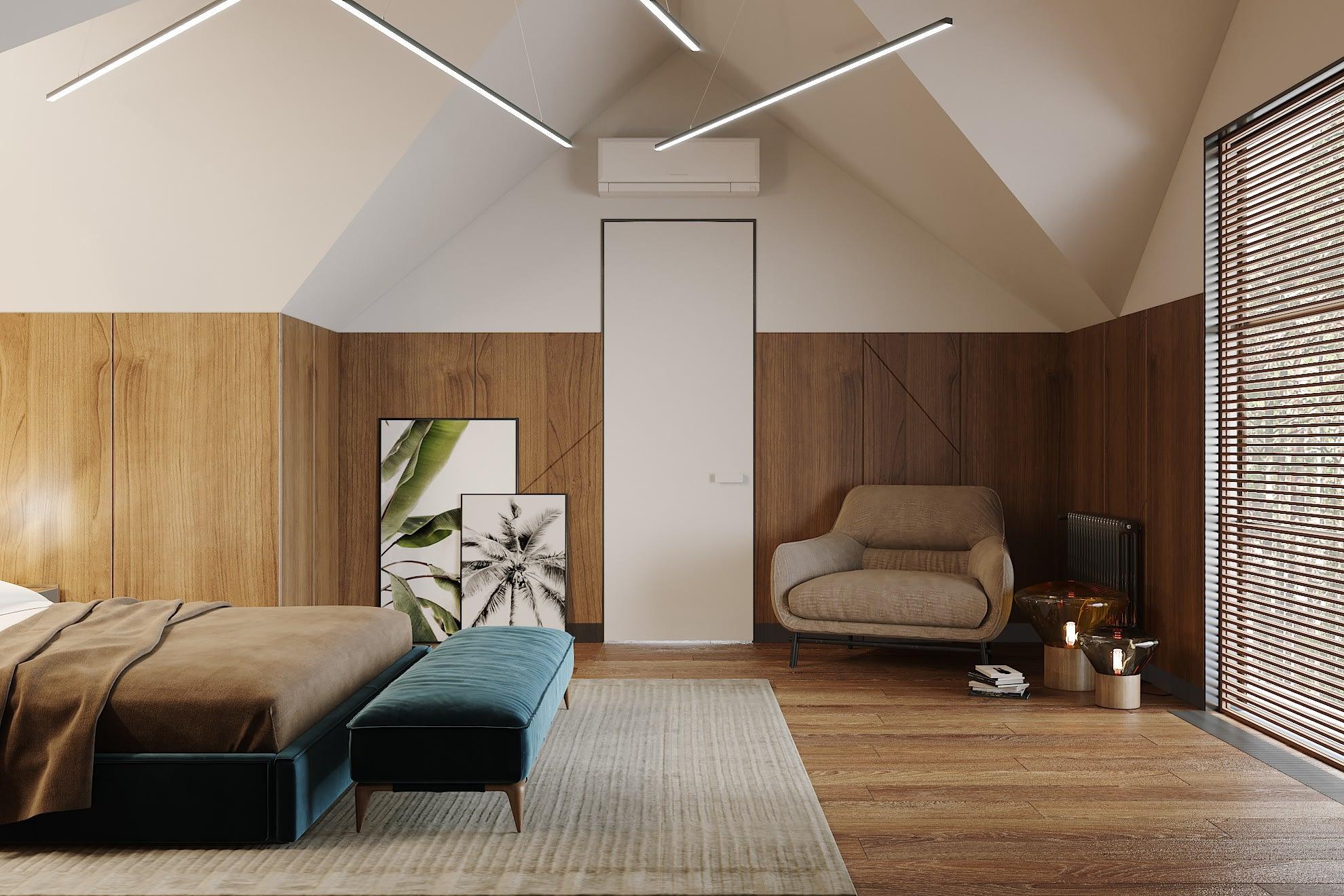 дизайн проект спальной комнаты в частном доме в Киеве