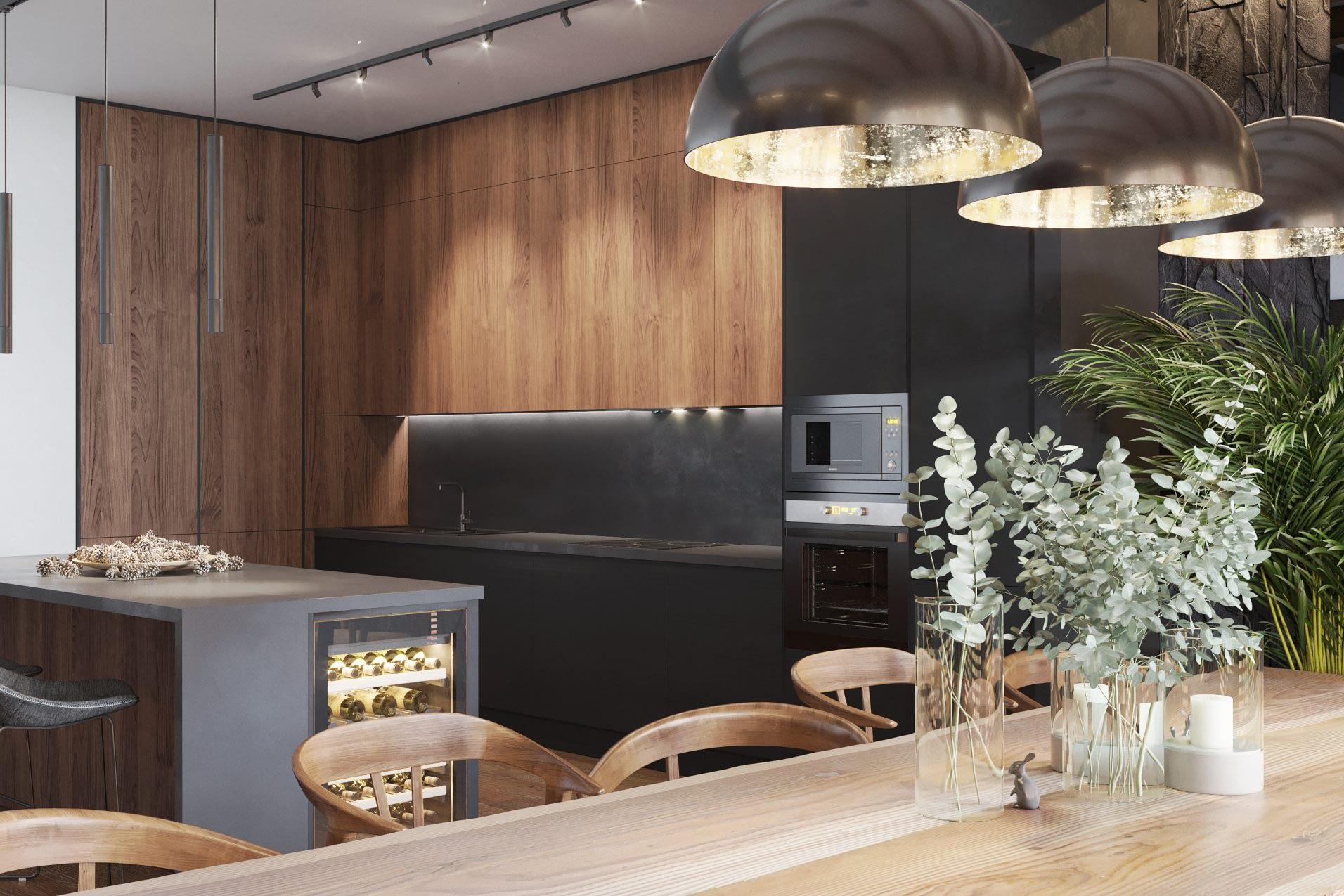 дизайн проект кухни в частном доме в Киеве