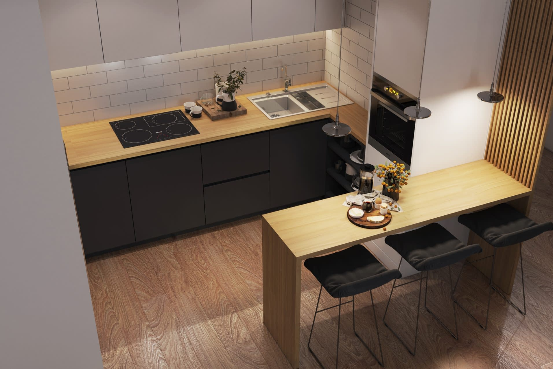 дизайн проект интерьера кухни квартиры от Lavrov Design