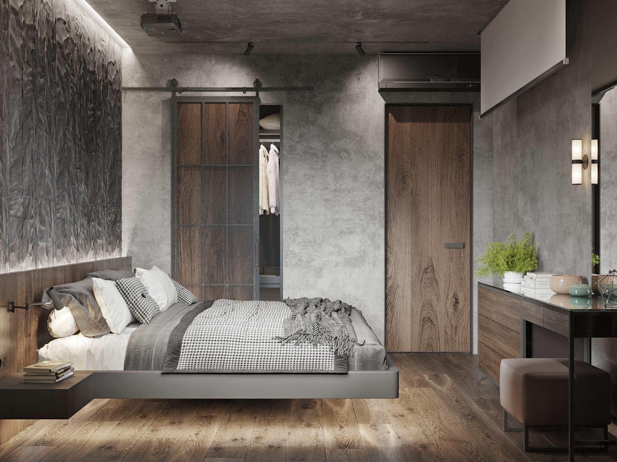 дизайн проект спальной комнаты в квартире ЖК Хоум